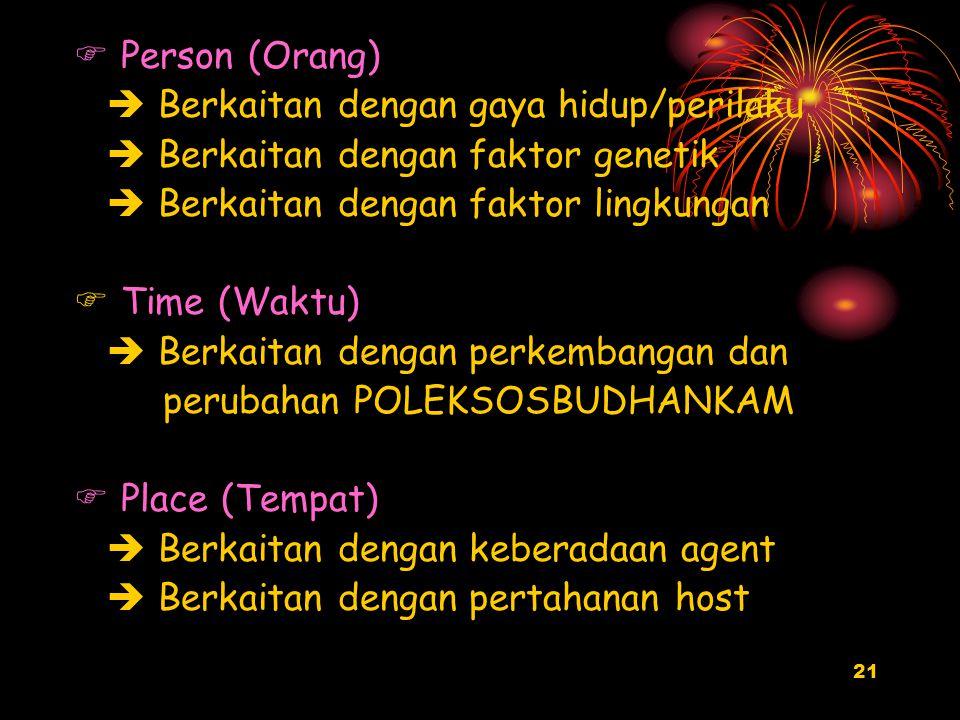 21  Person (Orang)  Berkaitan dengan gaya hidup/perilaku  Berkaitan dengan faktor genetik  Berkaitan dengan faktor lingkungan  Time (Waktu)  Ber