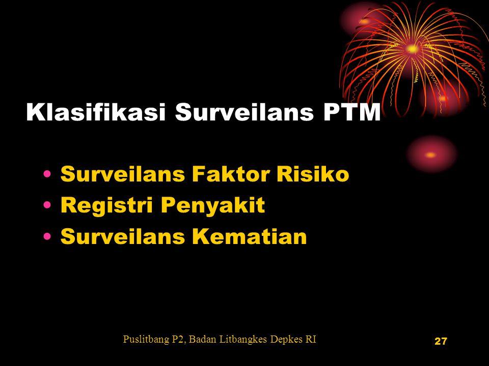 27 Klasifikasi Surveilans PTM Surveilans Faktor Risiko Registri Penyakit Surveilans Kematian Puslitbang P2, Badan Litbangkes Depkes RI