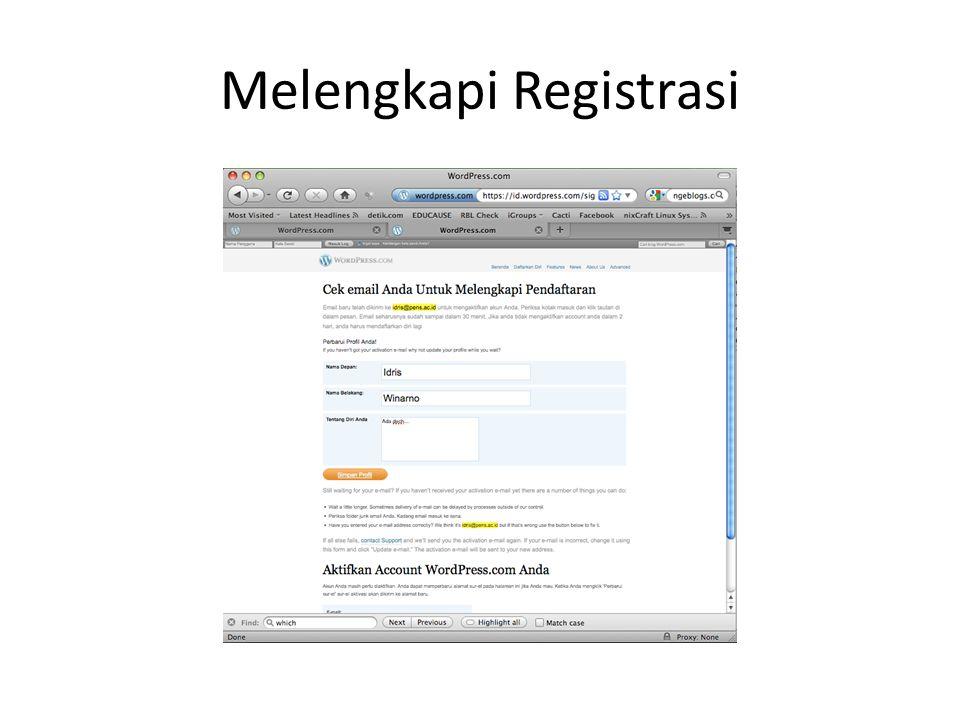 Melengkapi Registrasi