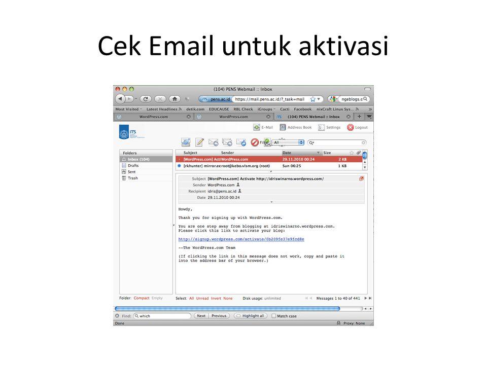 Cek Email untuk aktivasi