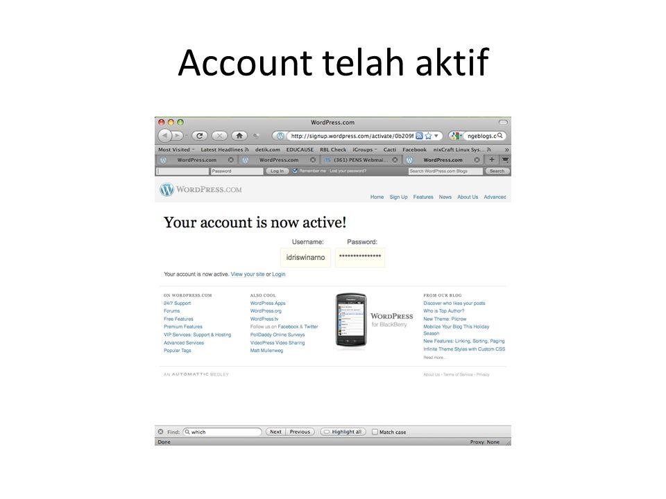 Account telah aktif