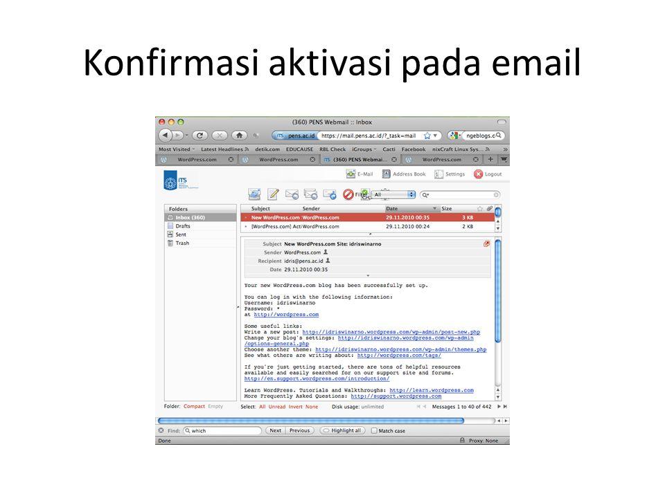 Konfirmasi aktivasi pada email