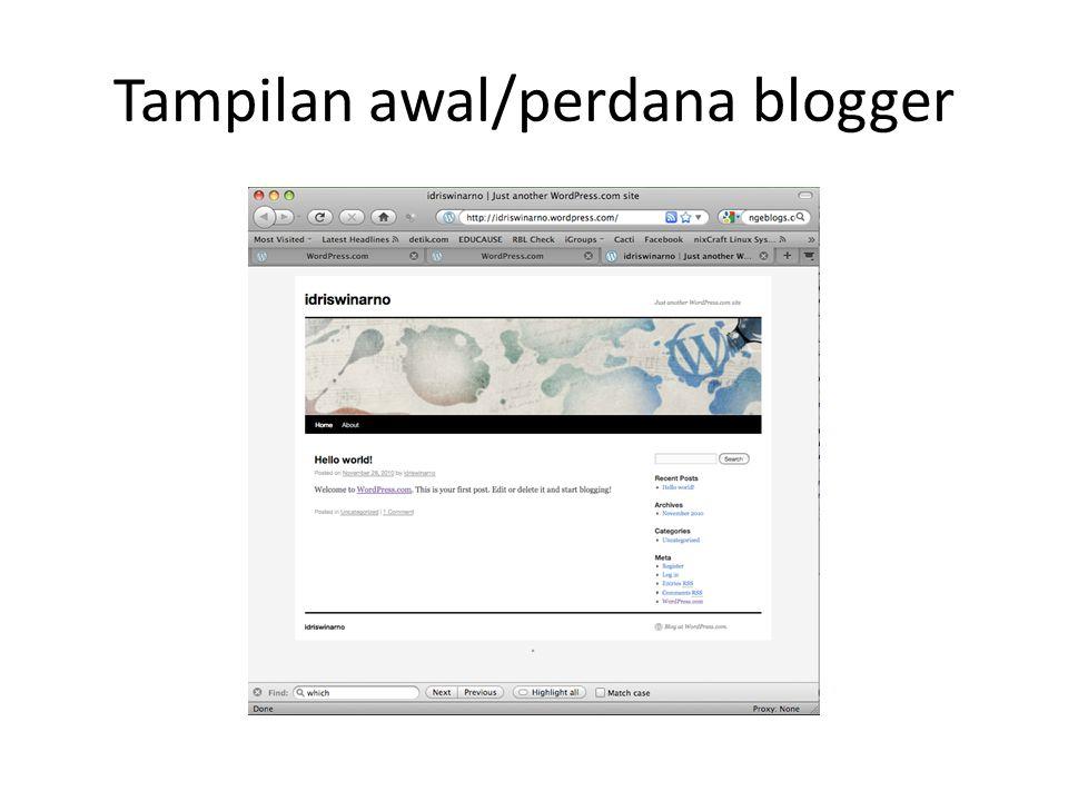 Tampilan awal/perdana blogger