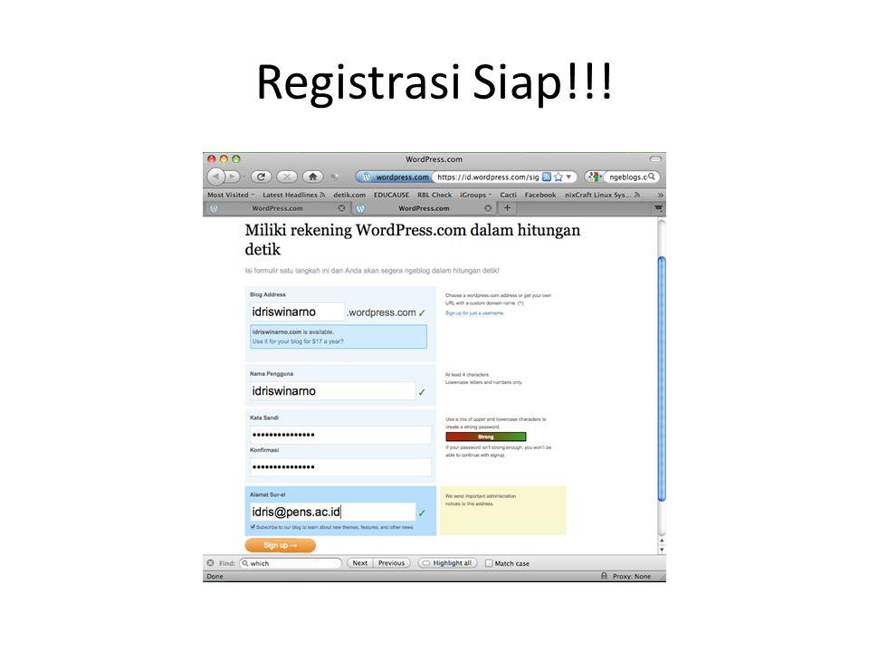 Registrasi Siap!!!