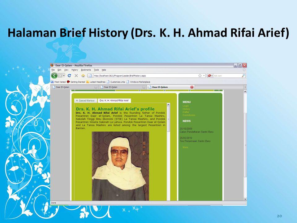 Halaman Brief History (H. Qashad Mansur) 19