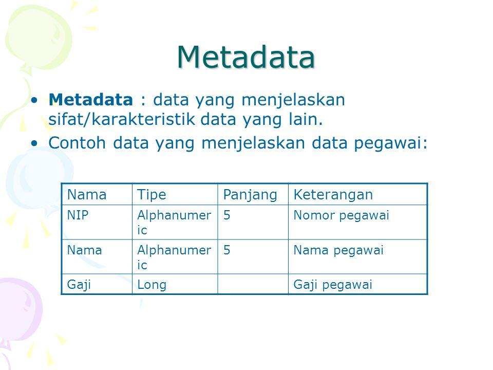 Metadata Metadata : data yang menjelaskan sifat/karakteristik data yang lain. Contoh data yang menjelaskan data pegawai: NamaTipePanjangKeterangan NIP