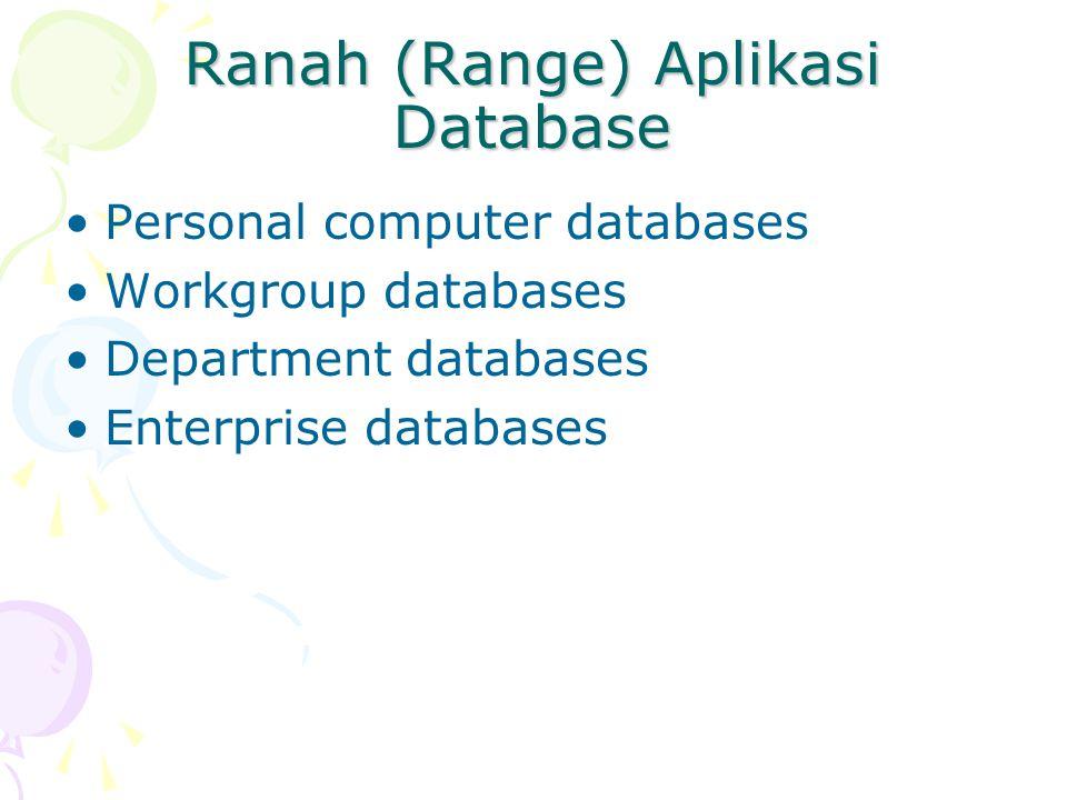 Ranah (Range) Aplikasi Database Personal computer databases Workgroup databases Department databases Enterprise databases