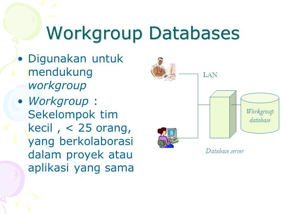 Workgroup Databases Digunakan untuk mendukung workgroup Workgroup : Sekelompok tim kecil, < 25 orang, yang berkolaborasi dalam proyek atau aplikasi yang sama Workgroup database Database server LAN