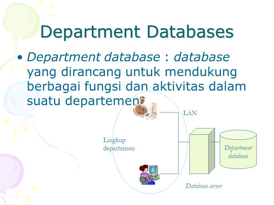 Department Databases Department database : database yang dirancang untuk mendukung berbagai fungsi dan aktivitas dalam suatu departemen Department database Database server LAN Lingkup departemen