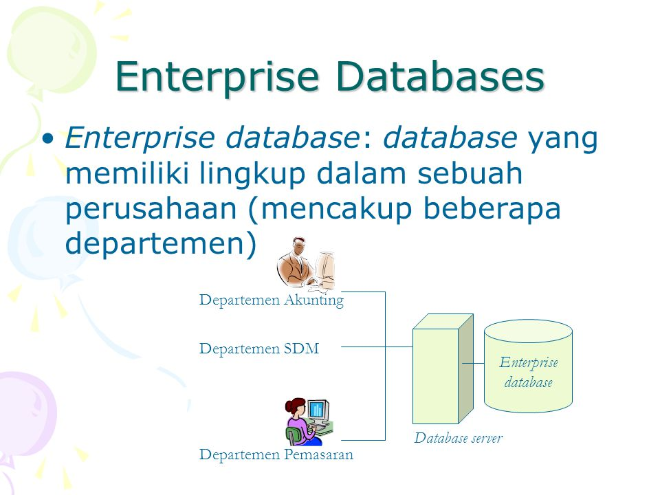 Enterprise Databases Enterprise database: database yang memiliki lingkup dalam sebuah perusahaan (mencakup beberapa departemen) Enterprise database Database server Departemen Akunting Departemen Pemasaran Departemen SDM