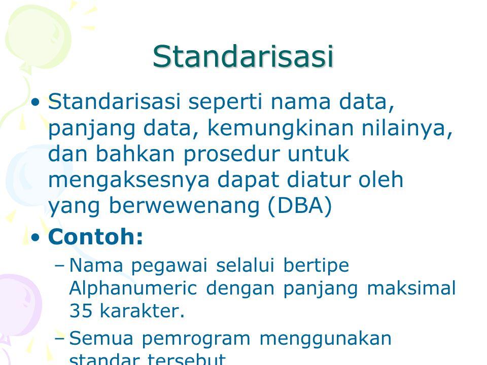Standarisasi Standarisasi seperti nama data, panjang data, kemungkinan nilainya, dan bahkan prosedur untuk mengaksesnya dapat diatur oleh yang berwewenang (DBA) Contoh: –Nama pegawai selalui bertipe Alphanumeric dengan panjang maksimal 35 karakter.