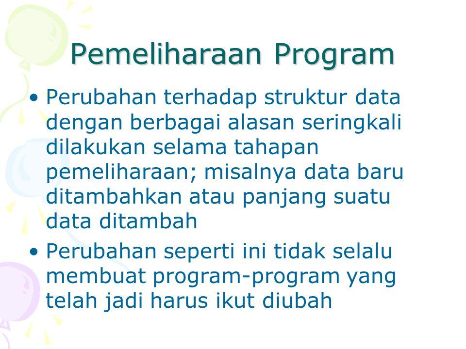 Pemeliharaan Program Perubahan terhadap struktur data dengan berbagai alasan seringkali dilakukan selama tahapan pemeliharaan; misalnya data baru dita