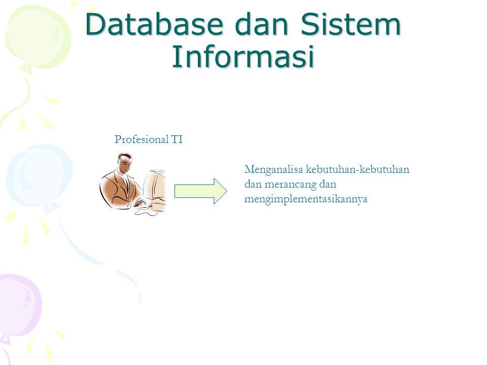 Database dan Sistem Informasi Profesional TI Menganalisa kebutuhan-kebutuhan dan merancang dan mengimplementasikannya