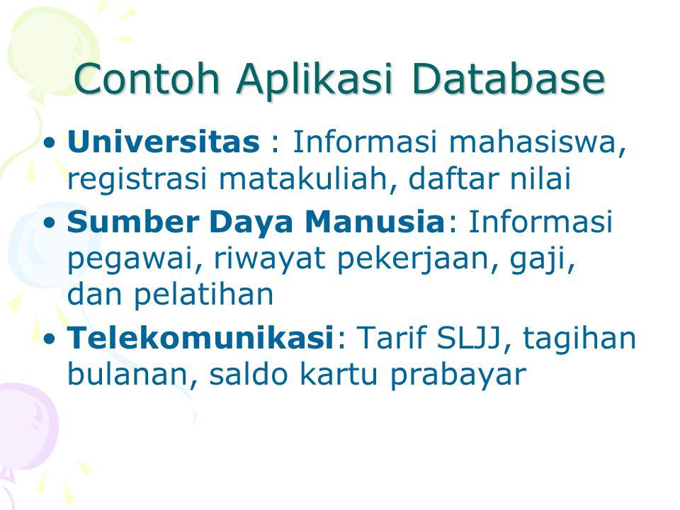 Contoh Aplikasi Database Universitas : Informasi mahasiswa, registrasi matakuliah, daftar nilai Sumber Daya Manusia: Informasi pegawai, riwayat pekerj