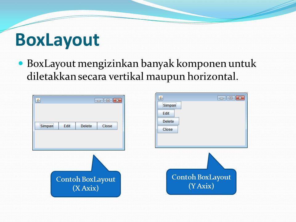 BoxLayout BoxLayout mengizinkan banyak komponen untuk diletakkan secara vertikal maupun horizontal. Contoh BoxLayout (X Axix) Contoh BoxLayout (Y Axix