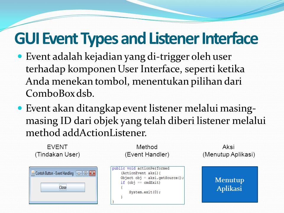 GUI Event Types and Listener Interface Event adalah kejadian yang di-trigger oleh user terhadap komponen User Interface, seperti ketika Anda menekan t
