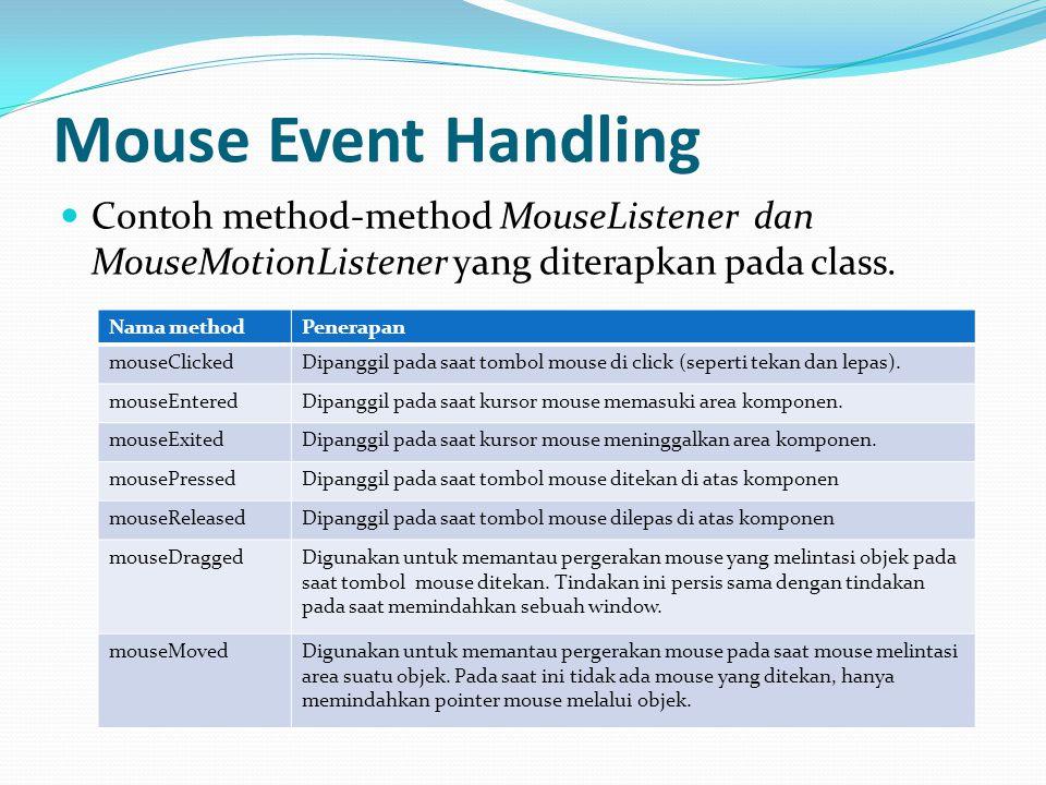 Mouse Event Handling Contoh method-method MouseListener dan MouseMotionListener yang diterapkan pada class. Nama methodPenerapan mouseClickedDipanggil