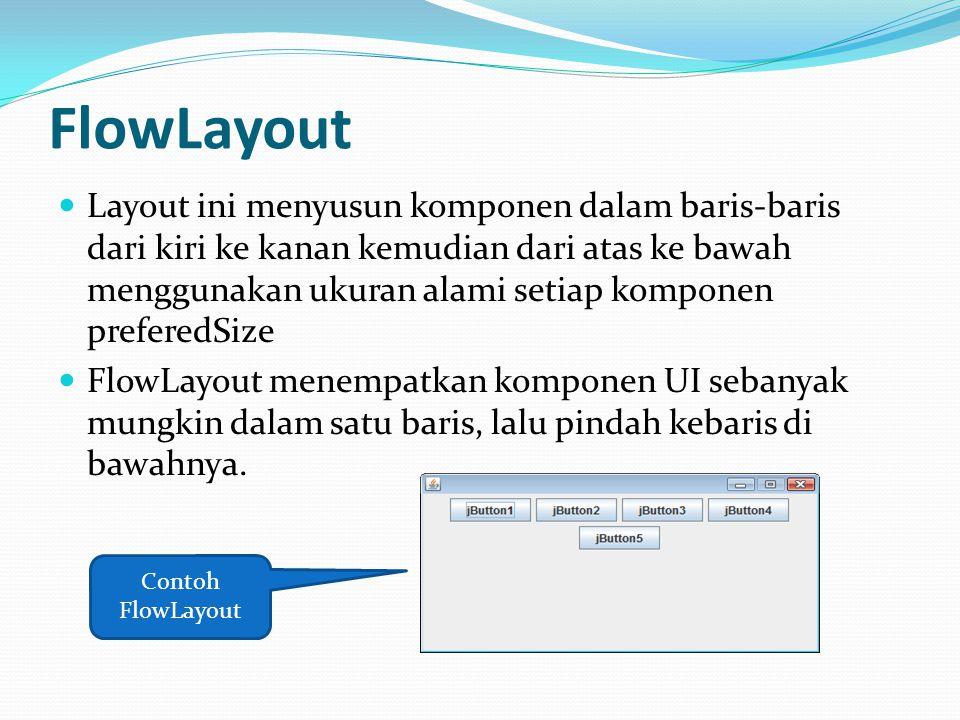 FlowLayout Layout ini menyusun komponen dalam baris-baris dari kiri ke kanan kemudian dari atas ke bawah menggunakan ukuran alami setiap komponen pref
