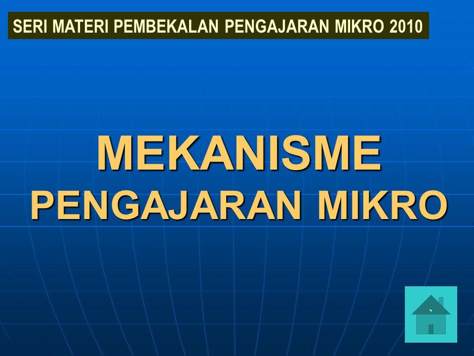 MEKANISME PENGAJARAN MIKRO SERI MATERI PEMBEKALAN PENGAJARAN MIKRO 2010 `