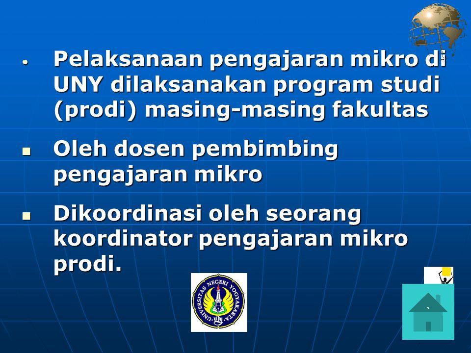 Pelaksanaan pengajaran mikro di UNY dilaksanakan program studi (prodi) masing-masing fakultas Pelaksanaan pengajaran mikro di UNY dilaksanakan program