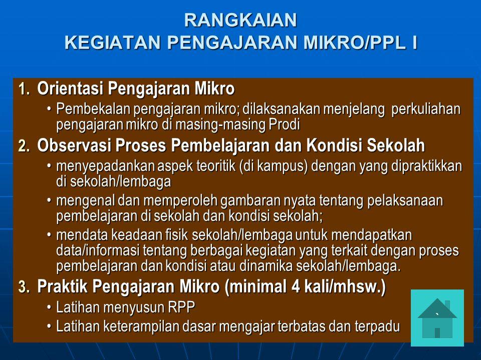 RANGKAIAN KEGIATAN PENGAJARAN MIKRO/PPL I 1. Orientasi Pengajaran Mikro Pembekalan pengajaran mikro; dilaksanakan menjelang perkuliahan pengajaran mik