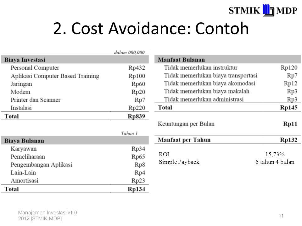 2. Cost Avoidance: Contoh Manajemen Investasi v1.0 2012 [STMIK MDP] 11 ROI Simple Payback 15,73% 6 tahun 4 bulan