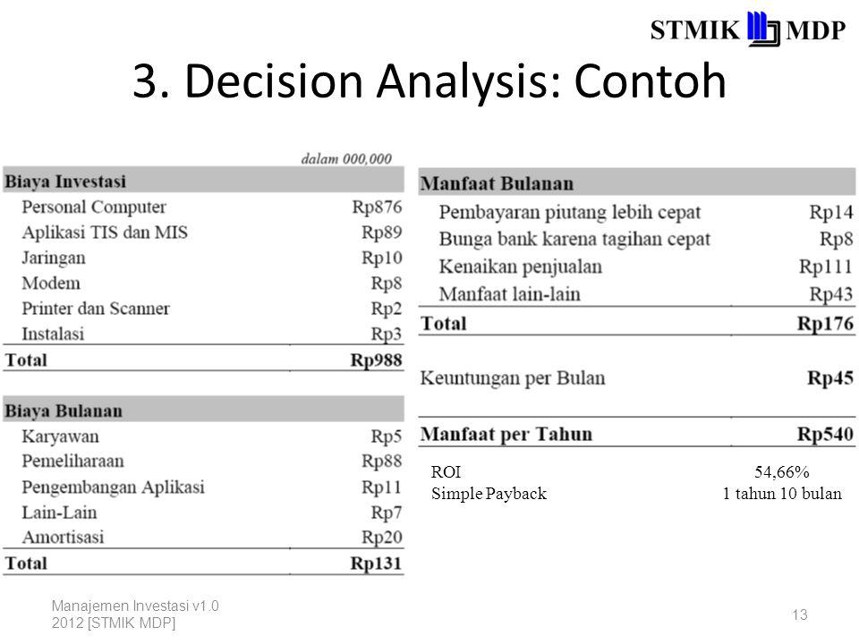 3. Decision Analysis: Contoh Manajemen Investasi v1.0 2012 [STMIK MDP] 13 ROI Simple Payback 54,66% 1 tahun 10 bulan