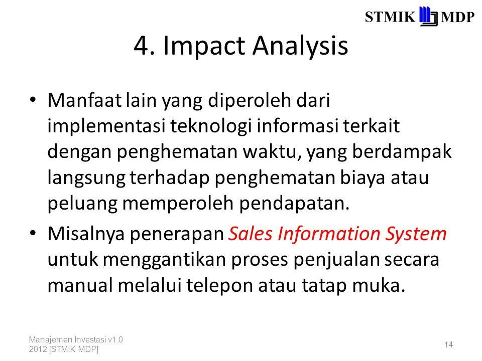 4. Impact Analysis Manfaat lain yang diperoleh dari implementasi teknologi informasi terkait dengan penghematan waktu, yang berdampak langsung terhada