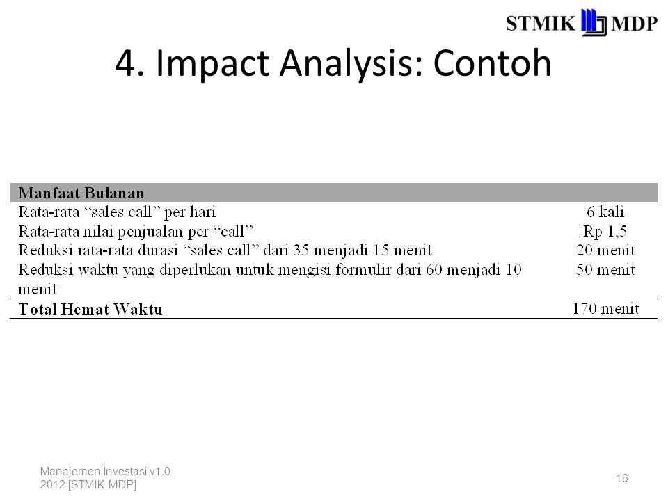 4. Impact Analysis: Contoh Manajemen Investasi v1.0 2012 [STMIK MDP] 16