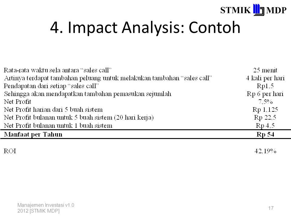4. Impact Analysis: Contoh Manajemen Investasi v1.0 2012 [STMIK MDP] 17