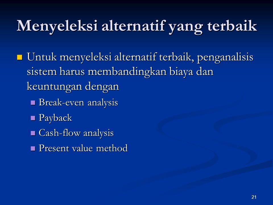 21 Menyeleksi alternatif yang terbaik Untuk menyeleksi alternatif terbaik, penganalisis sistem harus membandingkan biaya dan keuntungan dengan Untuk menyeleksi alternatif terbaik, penganalisis sistem harus membandingkan biaya dan keuntungan dengan Break-even analysis Break-even analysis Payback Payback Cash-flow analysis Cash-flow analysis Present value method Present value method