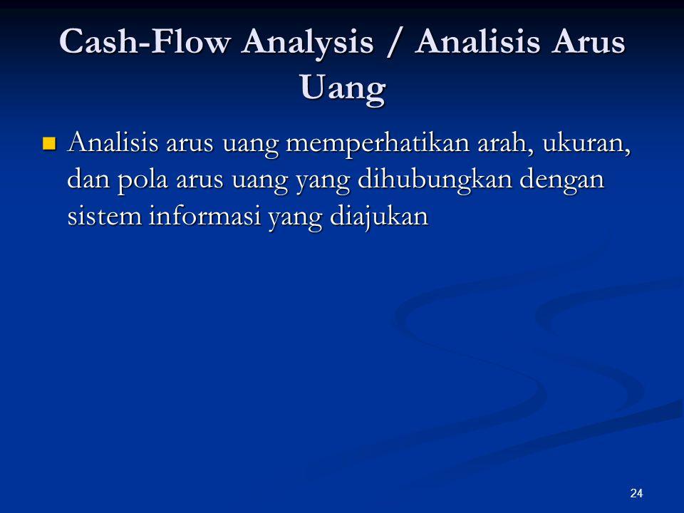 24 Cash-Flow Analysis / Analisis Arus Uang Analisis arus uang memperhatikan arah, ukuran, dan pola arus uang yang dihubungkan dengan sistem informasi yang diajukan Analisis arus uang memperhatikan arah, ukuran, dan pola arus uang yang dihubungkan dengan sistem informasi yang diajukan