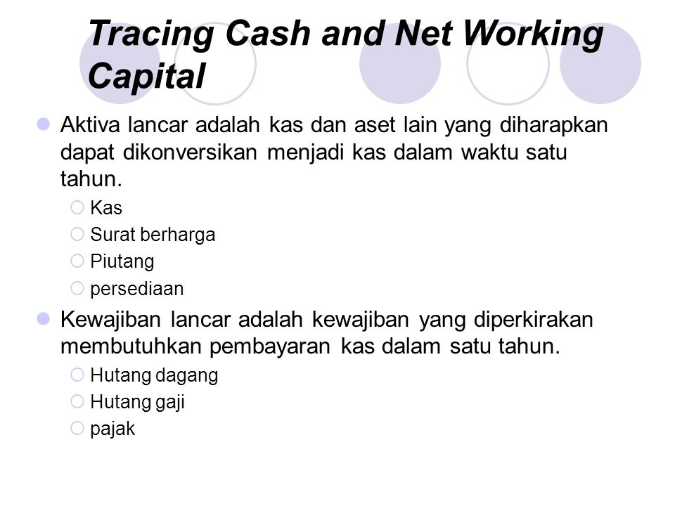 Defining Cash in Terms of Other Elements Net Working Capital + Fixed Assets = Long- Term Debt +Equity Net Working Capital = Cash Other Current Assets Current Liabilities +– Cash = Long- Term Debt +Equity Net Working Capital (excluding cash) Fixed Assets –