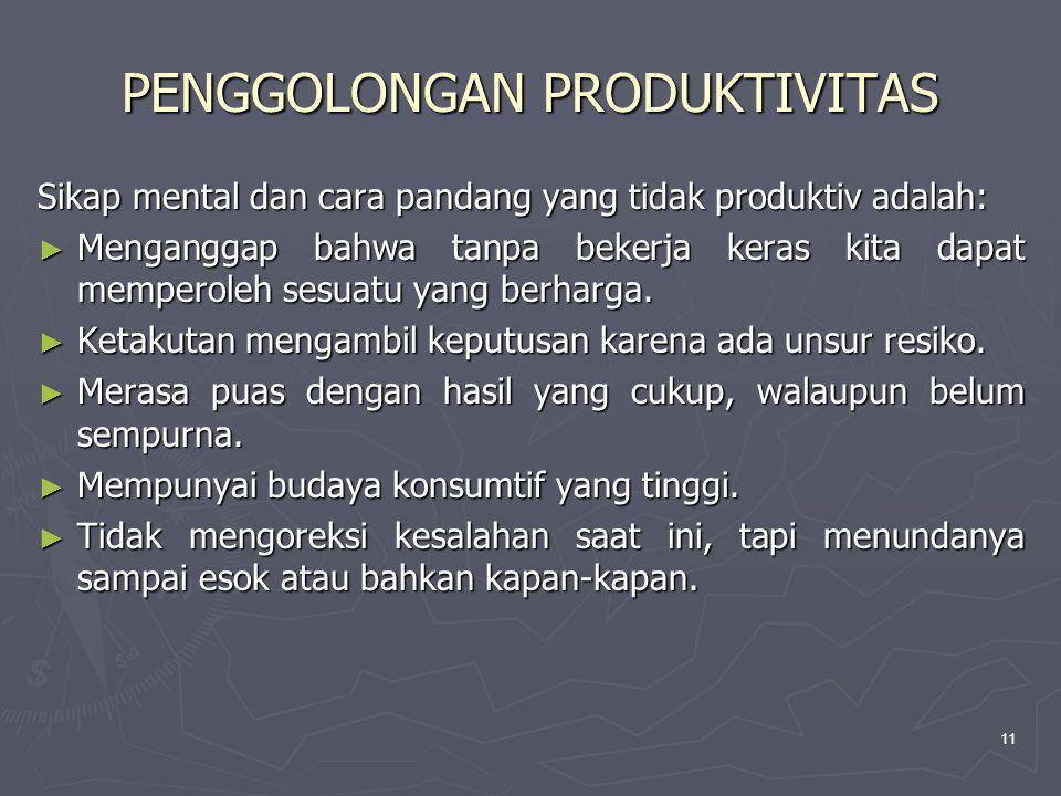 11 Sikap mental dan cara pandang yang tidak produktiv adalah: ► Menganggap bahwa tanpa bekerja keras kita dapat memperoleh sesuatu yang berharga.