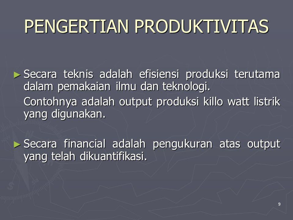9 PENGERTIAN PRODUKTIVITAS ► Secara teknis adalah efisiensi produksi terutama dalam pemakaian ilmu dan teknologi.