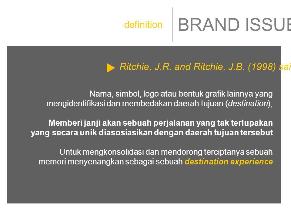 BRAND ISSUE Nama, simbol, logo atau bentuk grafik lainnya yang mengidentifikasi dan membedakan daerah tujuan (destination), Memberi janji akan sebuah perjalanan yang tak terlupakan yang secara unik diasosiasikan dengan daerah tujuan tersebut Untuk mengkonsolidasi dan mendorong terciptanya sebuah memori menyenangkan sebagai sebuah destination experience definition Ritchie, J.R.
