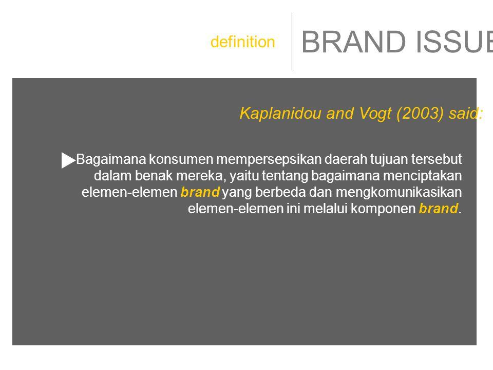 BRAND ISSUE Bagaimana konsumen mempersepsikan daerah tujuan tersebut dalam benak mereka, yaitu tentang bagaimana menciptakan elemen-elemen brand yang berbeda dan mengkomunikasikan elemen-elemen ini melalui komponen brand.