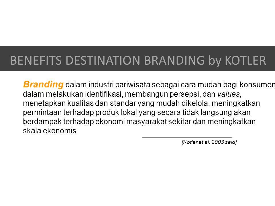 Branding dalam industri pariwisata sebagai cara mudah bagi konsumen dalam melakukan identifikasi, membangun persepsi, dan values, menetapkan kualitas dan standar yang mudah dikelola, meningkatkan permintaan terhadap produk lokal yang secara tidak langsung akan berdampak terhadap ekonomi masyarakat sekitar dan meningkatkan skala ekonomis.