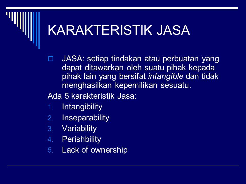KARAKTERISTIK JASA  JASA: setiap tindakan atau perbuatan yang dapat ditawarkan oleh suatu pihak kepada pihak lain yang bersifat intangible dan tidak