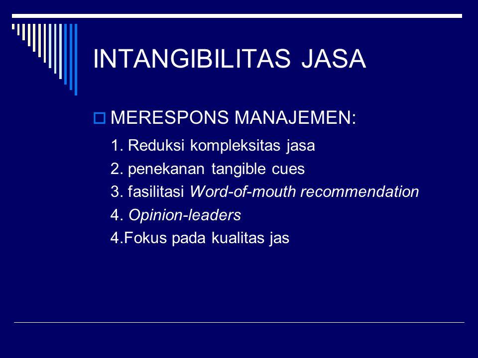 INTANGIBILITAS JASA  MERESPONS MANAJEMEN: 1. Reduksi kompleksitas jasa 2. penekanan tangible cues 3. fasilitasi Word-of-mouth recommendation 4. Opini