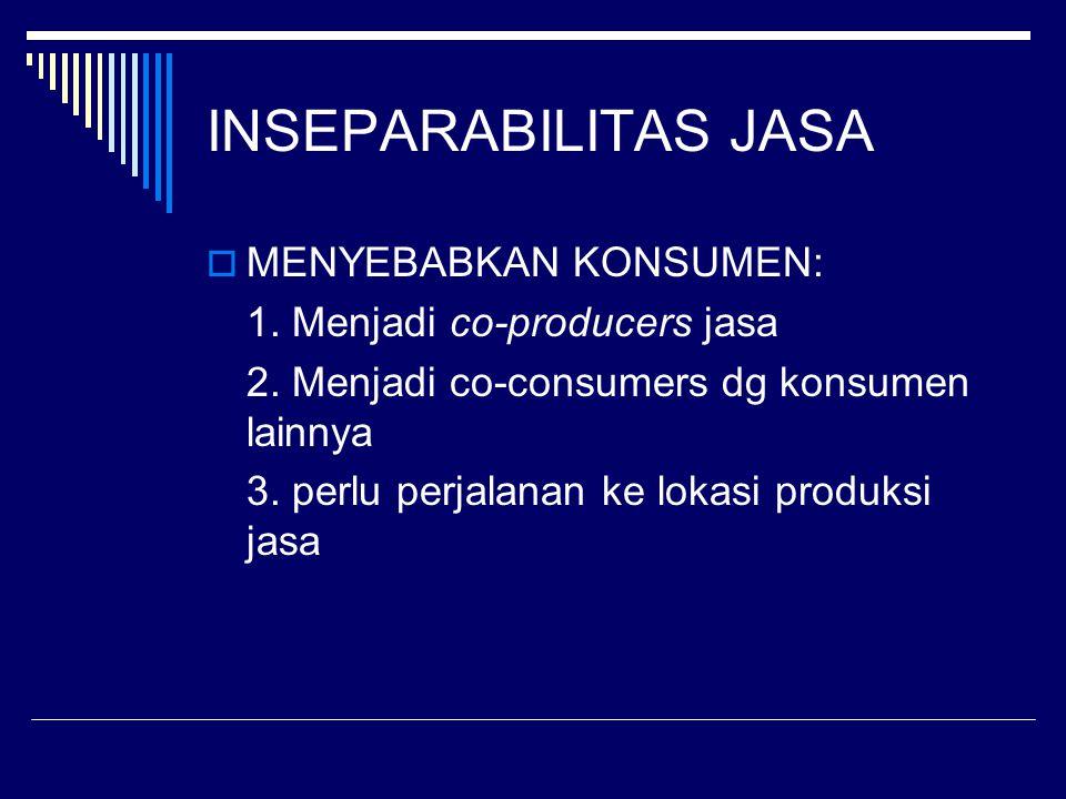 INSEPARABILITAS JASA  MENYEBABKAN KONSUMEN: 1. Menjadi co-producers jasa 2. Menjadi co-consumers dg konsumen lainnya 3. perlu perjalanan ke lokasi pr