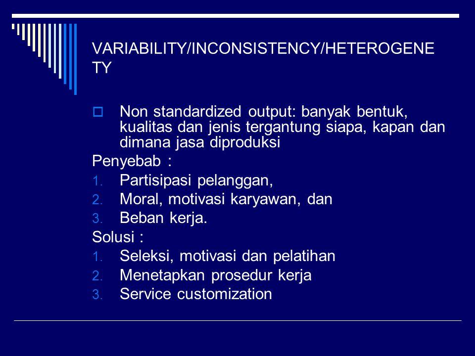 VARIABILITY/INCONSISTENCY/HETEROGENE TY  Non standardized output: banyak bentuk, kualitas dan jenis tergantung siapa, kapan dan dimana jasa diproduks