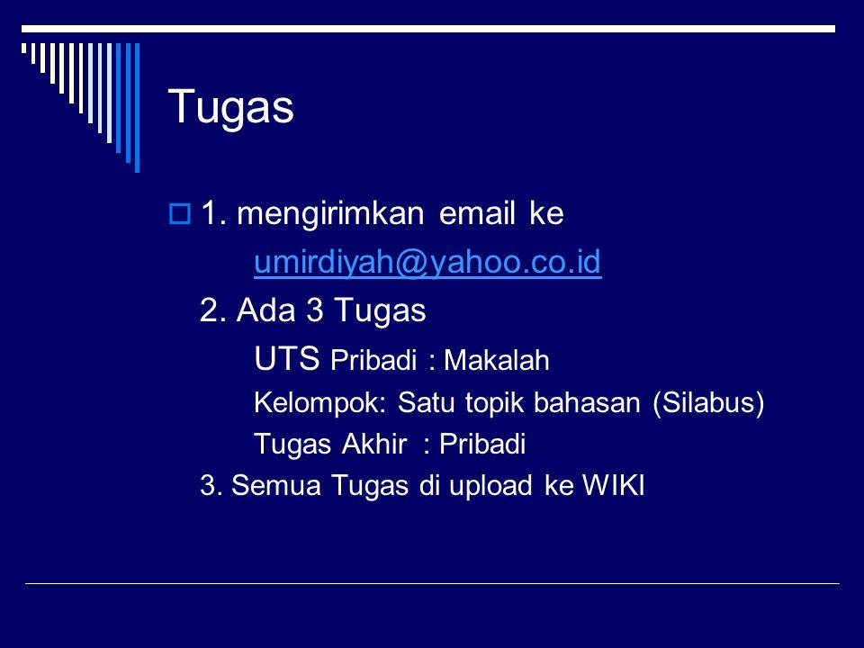 Tugas  1. mengirimkan email ke umirdiyah@yahoo.co.id 2. Ada 3 Tugas UTS Pribadi : Makalah Kelompok: Satu topik bahasan (Silabus) Tugas Akhir : Pribad