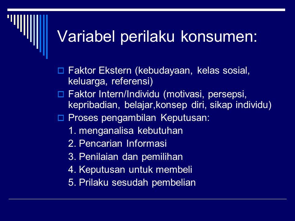 Variabel perilaku konsumen:  Faktor Ekstern (kebudayaan, kelas sosial, keluarga, referensi)  Faktor Intern/Individu (motivasi, persepsi, kepribadian