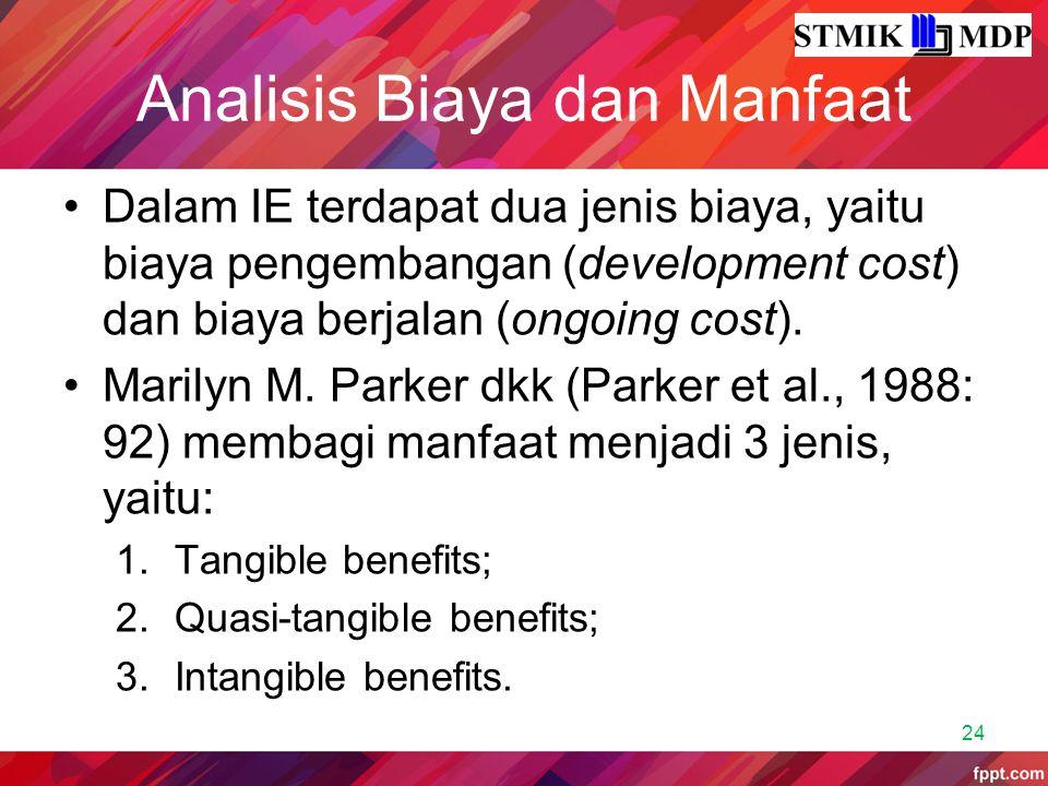 Analisis Biaya dan Manfaat Dalam IE terdapat dua jenis biaya, yaitu biaya pengembangan (development cost) dan biaya berjalan (ongoing cost). Marilyn M