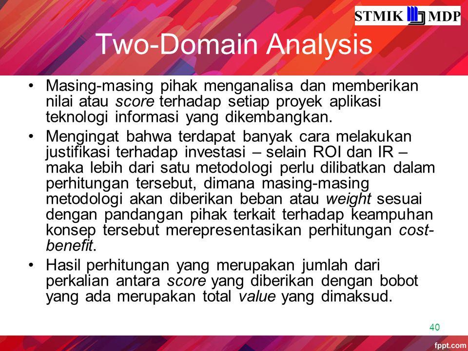 Two-Domain Analysis Masing-masing pihak menganalisa dan memberikan nilai atau score terhadap setiap proyek aplikasi teknologi informasi yang dikembang