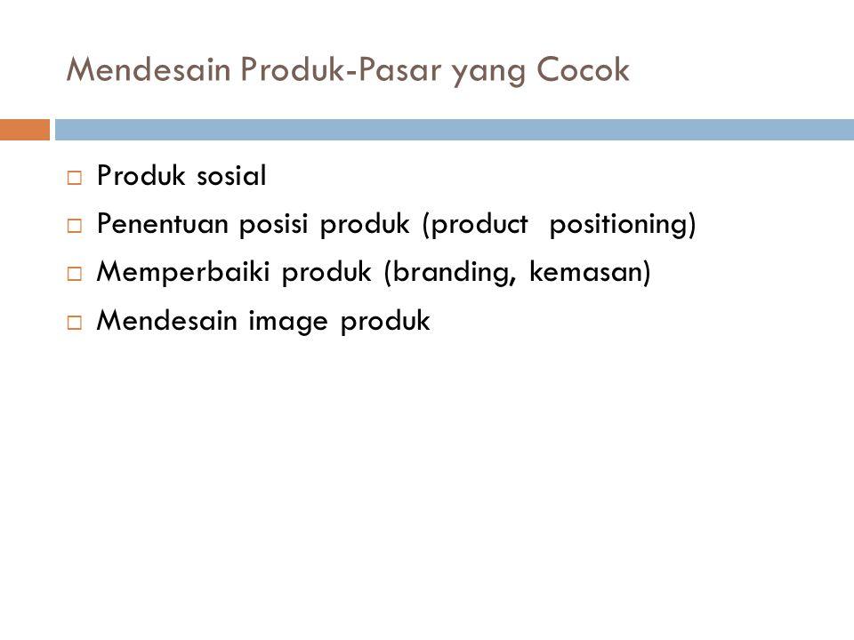 Mendesain Produk-Pasar yang Cocok  Produk sosial  Penentuan posisi produk (product positioning)  Memperbaiki produk (branding, kemasan)  Mendesain