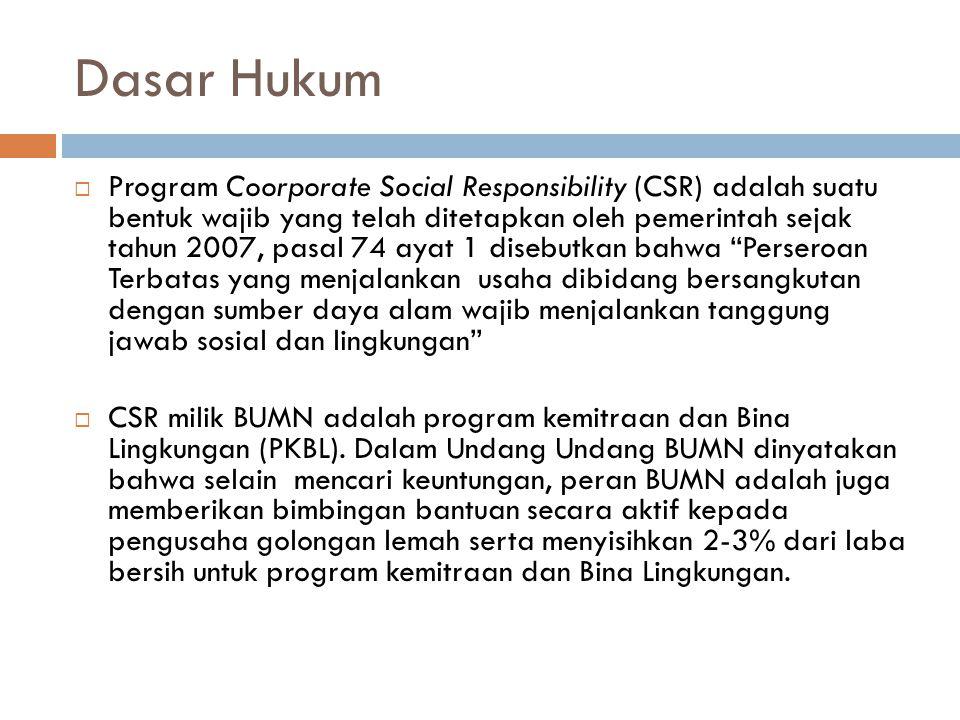 Dasar Hukum  Program Coorporate Social Responsibility (CSR) adalah suatu bentuk wajib yang telah ditetapkan oleh pemerintah sejak tahun 2007, pasal 7