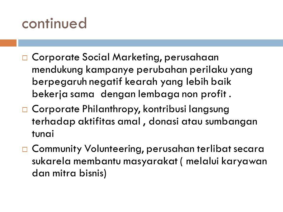 continued  Corporate Social Marketing, perusahaan mendukung kampanye perubahan perilaku yang berpegaruh negatif kearah yang lebih baik bekerja sama d