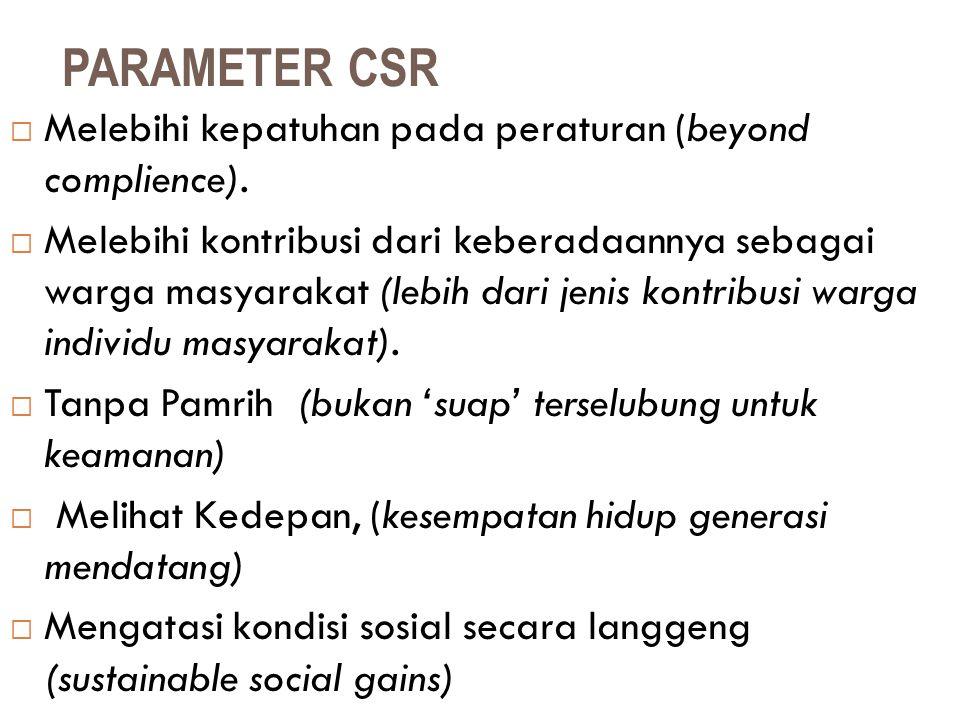 PARAMETER CSR  Melebihi kepatuhan pada peraturan (beyond complience).  Melebihi kontribusi dari keberadaannya sebagai warga masyarakat (lebih dari j
